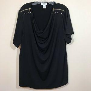 Carmen Marc Valvo Draped Top Black size 3X